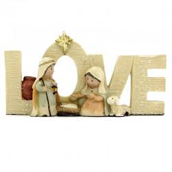 Natività Love in resina colorata 13,5x7 cm
