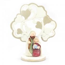 Presepe albero con cuori-C in resina colorata 11,5 cm