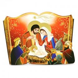 Libro con Natività in legno sagomato 15x11 cm