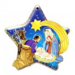Stella di Natale con Natività in legno sagomato 9,5x9,5 cm