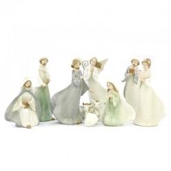 Presepe stilizzato in porcellana colorata 22 cm 10 pezzi