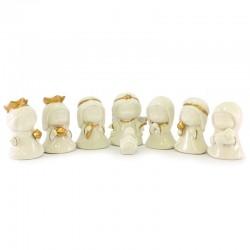 Presepe linea bimbi porcellana bianca e oro 9 cm 8 pezzi