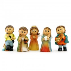 Colored Resin Childlike Nativity 18 characters 5.5 cm
