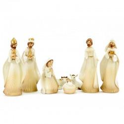 Natività in porcellana colorata 8 pezzi 25 cm