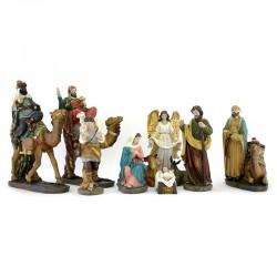 Natività completa di Re Magi a cammello resina colorata 10 pezzi 20 cm
