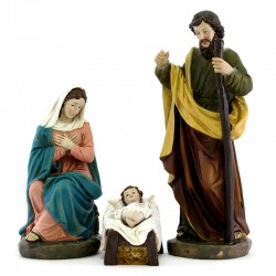 Colored Resin Nativity with Magi on Camelback 10 items 20 cm