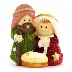 Colored Resin Childlike Nativity Set 4 cm
