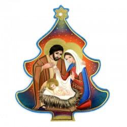 Albero di Natale con Natività e preghiera immagine in pvc 9,5x11,5 cm