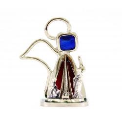 Angelo con Natività in metallo e smalto 4x5 cm