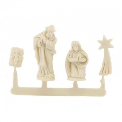 Nativity in wood-colored plastic 4 pieces 2 cm
