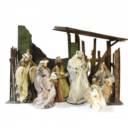 Hut with Nativity and Wise Men 105x70x28 cm