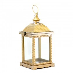 Antique lantern in wood, metal and glass 45 cm