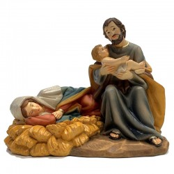 Group Nativity with Virgin resting in resin 19.2 cm
