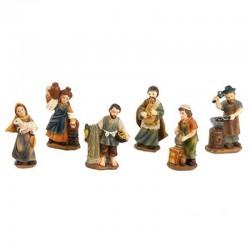 Set of Shepherds 10 pieces in resin 5 cm