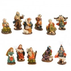 Set of shepherds in colored resin 5 cm 11 pieces