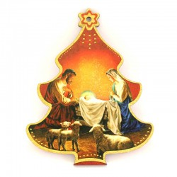 Shaped Christmas tree with Nativity in mdf 8,5x10,5 cm