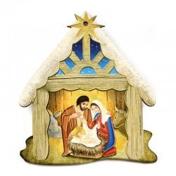 Hanging Nativity scene in shaped mdf 8x9,5 cm