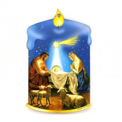 Shaped Blue Candle with Nativity in mdf  6,5x11 cm