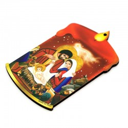 Shaped Red Candle with Nativity in mdf 6,5x11 cm