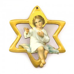 Star with Child Jesus in perforated mdf 9,5x10,5 cm