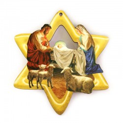 Star with Nativity in perforated mdf 9,5x10,5 cm
