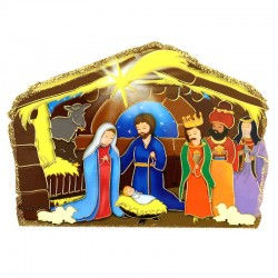 Nativity hut with Wise Men prayer pvc image 14x10 cm