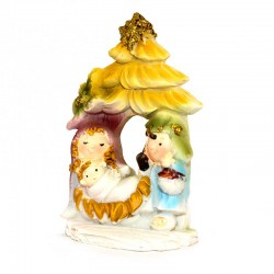 Nativity with hut in colored resin 7,5 cm