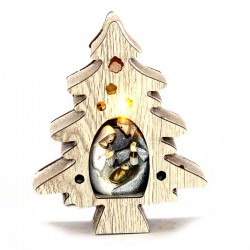 Luminous pine in shaped wood with resin Nativity 12 cm