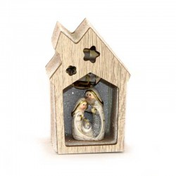 Luminous house in shaped wood with resin Nativity 9 cm
