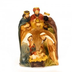 Group Nativity with Wise Men in coloured resin 21 cm