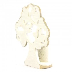 Nativity scene tree with hearts-B in colored resin 11.5 cm