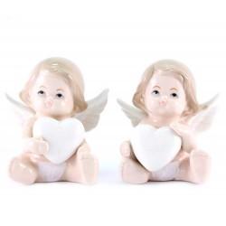 Angelo seduto in porcellana cuore in mano 7,5 cm