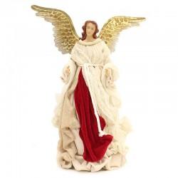 Angelo vestito velluto rosso ali in metallo 45 cm