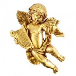 Angelo con arpa in resina oro foglia 42 cm