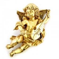 Angelo con violino in resina oro foglia 42 cm