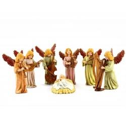 Angeli musicanti e Bambino 7 pezzi 11 cm
