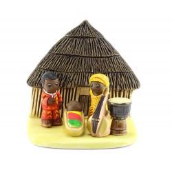 Presepe del Camerun in terracotta 7x8,5 cm