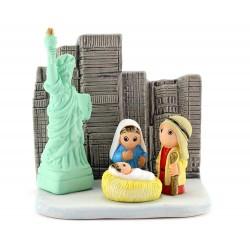 Presepe di New York in terracotta 8x8 cm