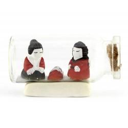 Presepe in terracotta in bottiglia 3x5 cm