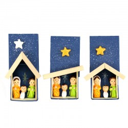 Magnetic Matchbox Terracotta Nativity with Moon 5.5x5 cm