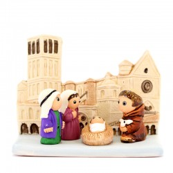 Presepe Assisi Panorama in terracotta 9,5x7,5 cm