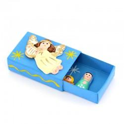 Matchbox with Terracotta Nativity 5.5x4 cm