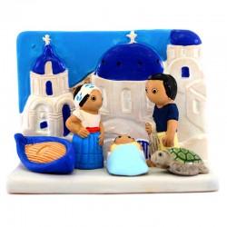 Nativity scene Santorini in terracotta 9x6,5 cm