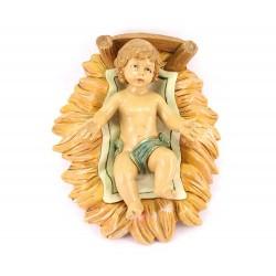 Gesù Bambino in culla polietilene colorato 45 cm