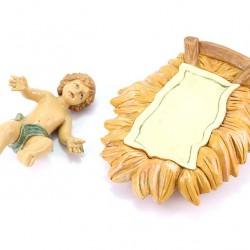 Colored Polythene Baby Jesus in Cradle 45 cm