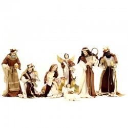 Natività resina vestita marrone 43 cm 10 pezzi