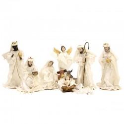 Natività resina vestita bianca 34 cm 10 pezzi
