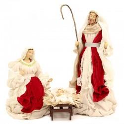 Natività resina vestita velluto rosso 68 cm 3 pezzi