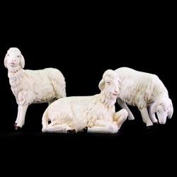 Set 3 Sheep white polythene for Shepherds of 40 cm