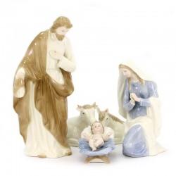 Natività in porcellana colorata 5 pezzi 41 cm